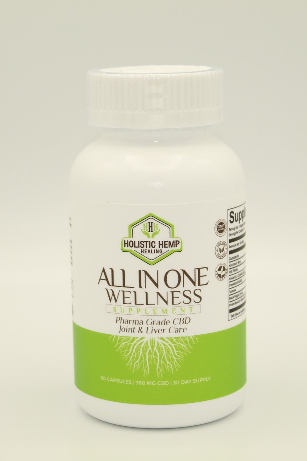 ALL IN ONE Wellness - $44.95All in One Wellness is a game changer in the industry. Not only does it contain premium all natural ingredients to promote restorative recovery, but a single serving (3 capsules) packs the benefits of 6 commonly recommended daily supplements.This product is 100% THC Free and contains Pharma Grade Water Soluble CBD Powder derived from industrial hemp.INGREDIENTS1000 mg Glucosamine, 400 mg Milk Thistle, 350 mg NAC, 400mg Hawthorne Berry, 150 mg Chondroitin Sulfate, 120 mg Turmeric, 12 mg Water Soluble CBD derived from industrial hemp, and 15 mg Black Pepper ExtractDIRECTIONS FOR USETake 3 capsules orally once daily.
