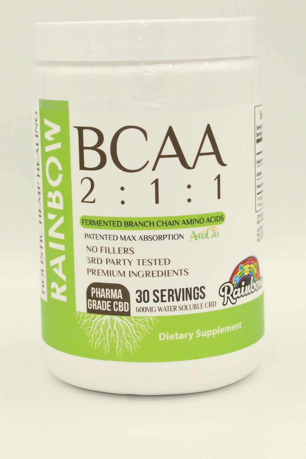 BCAA 2:1:1 - $44.95If your serious about your fitness game, or getting serious, you've most likely heard of or used a BCAA product. BCAA 2:1:1 is unlike any you've ever tired before. With an amazing fruity rainbow flavor, a patented max absorption method, fermented branch chain amino acids, and 600 mg of Pharma Grade Water Soluble CBD derived from industrial hemp, this will be your favorite go to muscle recovery product.This product is 100% THC Free and contains Pharma Grade Water Soluble CBD Powder derived from industrial hempINGREDIENTS8000 mg Holistic Hemp Healing 2:1:1 BCAA, 25 mg Astragin®, 20 mg Pharma Grade Water Soluble CBD derived from industrial hemp, Natural and Artificial Flavors, Malic Acid, Sucralose, Silicon Dioxide, and Acesulfame Potassium.DIRECTIONS FOR USEAdd 1 scoop of BCAA 2:1:1 to 10 oz of water 2 times daily. For best results, shake for 30 seconds in a shaker cup.