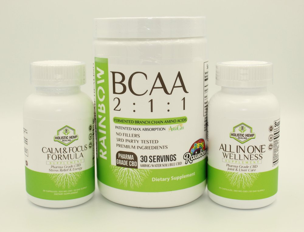 Supplement Bundle - $105Improve your supplement regime with all 3 of our Premium Supplements! This bundle includes our All in One Wellness, BCAA 2:1:1, and the Calm and Focus Formula, for a huge savings!These products are 100% THC Free and contain Pharma Grade Water Soluble CBD Powder derived from industrial hempINGREDIENTSAll in One Wellness: 1000 mg Glucosamine, 400 mg Milk Thistle, 350 mg NAC, 400mg Hawthorne Berry, 150 mg Chondroitin Sulfate, 120 mg Turmeric, 12 mg Water Soluble CBD derived from industrial hemp, and 15 mg Black Pepper ExtractCalm and Focus Formula: 100 mg Vitamin B1, 5 mg Vitamin B6, 1000 mcg Vitamin B12, 26 mg Calcium, 250 mg Ginkgo Biloba Leaf Extract, 250 mg Gamma-Aminobutyric Acid, 150 mg Phosphatidylserine 20% 12 mg Water Soluble CBD derived from industrial hemp, and 15 mg Black Pepper ExtractBCAA 2:1:1: 8000 mg Holistic Hemp Healing 2:1:1 BCAA, 25 mg Astragin®, 20 mg Pharma Grade Water Soluble CBD derived from industrial hemp, Natural and Artificial Flavors, Malic Acid, Sucralose, Silicon Dioxide, and Acesulfame Potassium.*Not Valid With Any Additional Discount