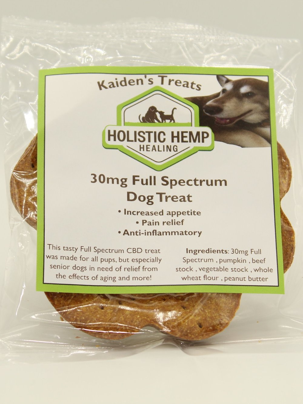 Kaiden's treat - $12This tasty Full Spectrum CBD infused dog treat was made for all pups, but especially senior dogs in need of relief from the effects of aging and more!Ingredients30 mg Full Spectrum CBD Oil derived from industrial hemp, Pumpkin, Beef Stock, Vegetable Stock, Whole Wheat Flour, and Peanut ButterDosageA whole treat may not appropriate for all dog, as you may feel as little as quarter of a treat is comfortable for them. It is best to start with less and adjust accordingly.