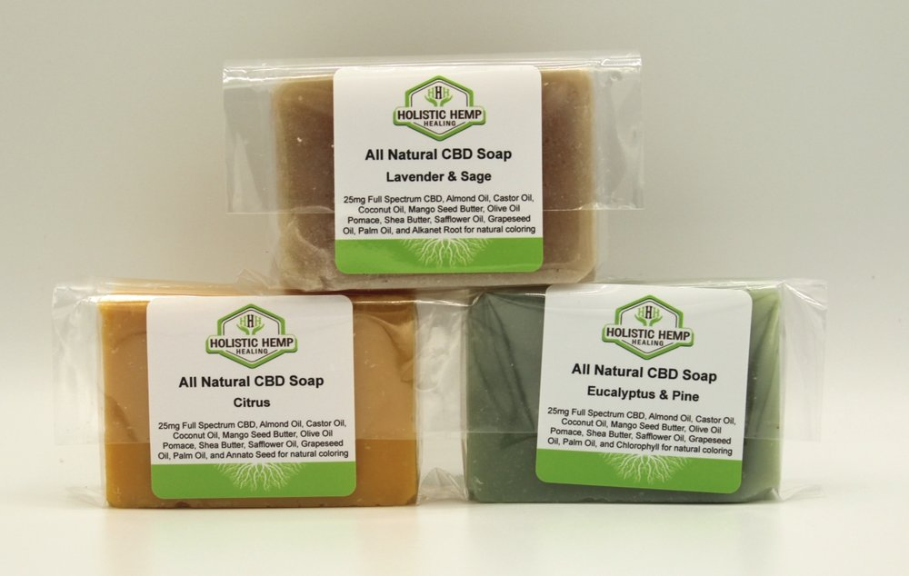 CBD INFUSED Handmade Soap - $15 (1 Bar)Our all natural Handmade Soaps come in three beautifully refreshing scents, Lavender Sage, Citrus, and Eucalyptus Pine. They are luxuriously moisturizing and each bar contain 25 mg of CBD Oil derived from industrial hemp.INGREDIENTSAlmond Oil, Castor Oil, Cocoa Butter, Coconut Oil, Palm Oil, Olive Oil Pomace, Shea Butter, Grapeseed Oil, Safflower Oil, Mango Seed Butter, natural coloring, and 25 mg Full Spectrum CBD Oil derived from industrial hemp.DIRECTIONS FOR USEApply soap to wet skin until a light lather occurs. Apply generously to problem areas. Rinse and dry.