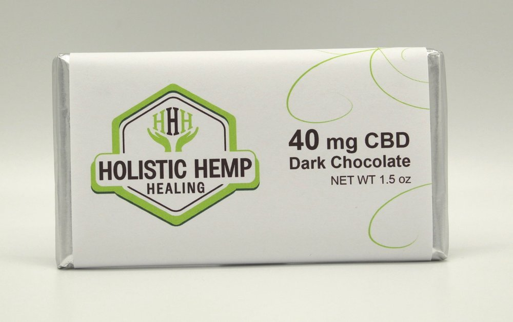 40mg dark chocolate bar - $18 - NEW PRODUCTOur CBD Infused Dark Chocolate Bars contain 40 mg of fast acting Water Soluble CBD derived from industrial hemp. These made from scratch chocolate bars are rich, sweet, and amazingly delicious! What a fun way to enjoy the benefits of CBD!This product is 100% THC Free and contains Pharma Grade Water Soluble CBD derived from industrial hemp.INGREDIENTSSemisweet Chocolate (Sugar, Unsweetened Chocolate, Cocoa Butter, Sunflower Lecithin, and Vanilla) and 40mg Pharma Grade Water Soluble CBD derived from industrial hemp