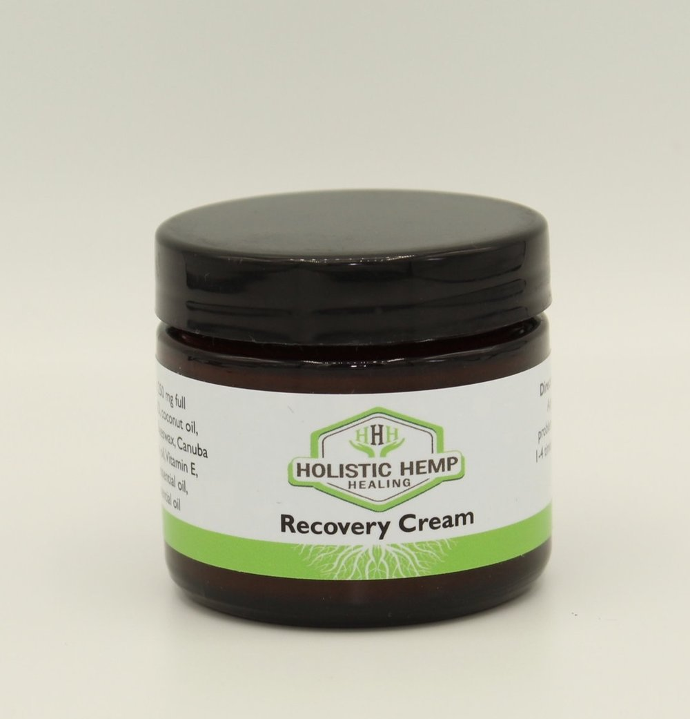 Recovery Cream - SALE $40 ($60 Value) - 2 oz.*SALE ITEMS ARE NOT ELIGIBLE FOR ADDITIONAL DISCOUNTS*Inflammation, exposure, sore muscles, and aching joints are common side effects of an active lifestyle, injury, and aging. Recovery and relief from this discomfort is imperative.250 mg of premium Full Spectrum CBD Oil, paired with a signature blend of naturally healing and moisturizing ingredients will make our Recovery Cream your favorite go to product.INGREDIENTSCoconut oil, Shea butter, Beeswax, Canuba wax, Avocado oil, Vitamin E, Lemongrass essential oil, Rosemary essential oil, 250 mg Full Spectrum CBD Oil derived from industrial hemp.DIRECTIONS FOR USEApply cream topically, as needed, to problem areas.