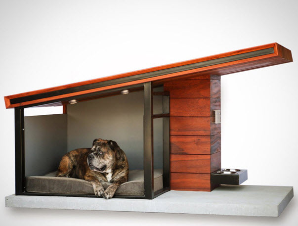 This ultra-modern dog house looks like something Frank Lloyd Wright's pooch might have called home. It is totally customizable, right down to adding house numbers. Adorable!