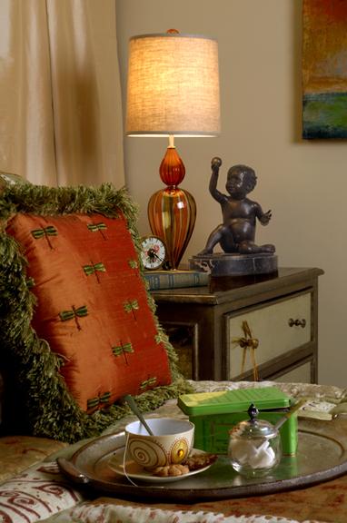 Orange and Green Bedroom Interior Design