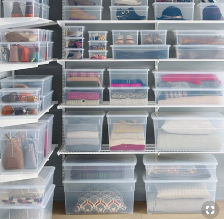 Use clear boxes for storage so you can see what is in the box.