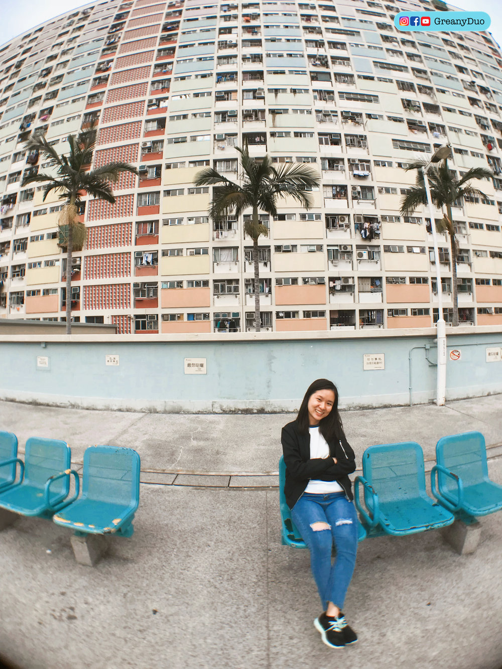 jenny in front of Choi Hung Estate