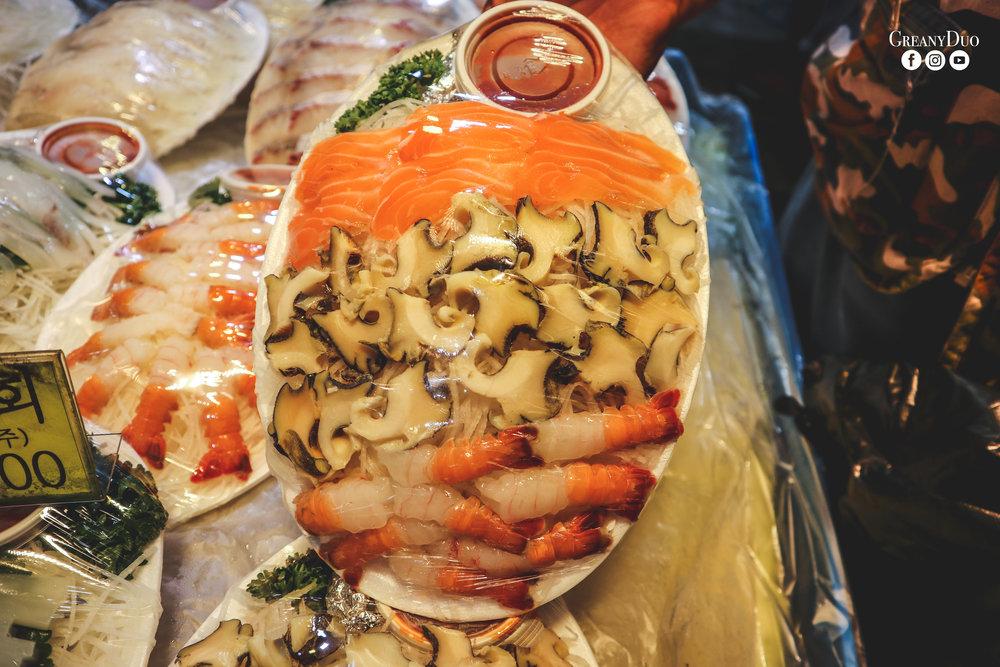 sashimi, dongmun fish market, jeju