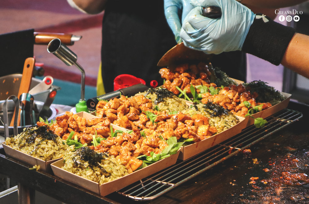 spicy teriyaki pork fried rice, dongmun market, jeju