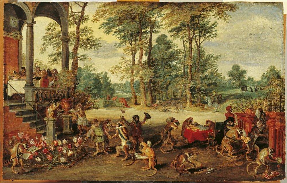 Jan Brueghel nuoremman kuuluisa maalaus noin vuodelta 1640 irvailee hollantilaisten tulppaanimanialle kuvaamalla tulppaanimarkkinat apinoiden kansoittamana.