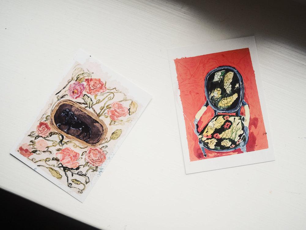 Unelmani on jonain päivänä hankkia kotiini Karoliina Hellbergin työ. Aloitin nyt ostamalla kaksi postikorttia Didrichsenin museokaupasta.