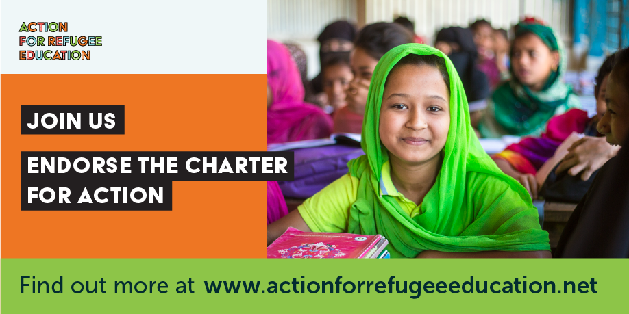 TWEET THIS   The time has come to take action for the 4 million refugee children who are not in school. We invite organisations and governments to sign our Charter for Action > www.actionforrefugeeeducation.net/charter-for-action ahead of #UNGA18 Act now for #RefugeeEducation