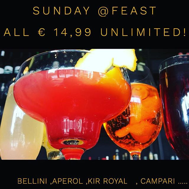 Sunday ! You definitely deserve it !  All cocktails €14,99 Unlimited🥂🍾🍹White Port & Tonic,Bellini, Aperol Spritz, Kir royal, Mimosa  Martini Bianco. #brunch #dublinbrunch