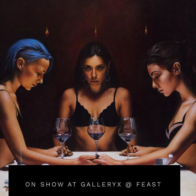 85/ 115 Oil on Board. The ritual has started, and the three young women are ready to finish it by tasting the content of the chalice. @galleryxdublin @feastdublin_ #artdublin #dublingalleries #dublinrestaurants #redwine #blackmagic