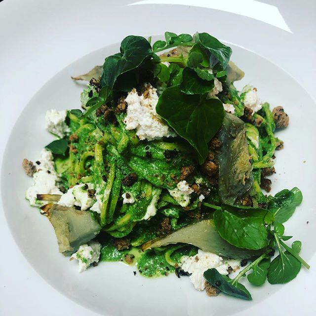 Linguine with spinach puree, globe artichoke, smoked ricotta, olive crumb, watercress
