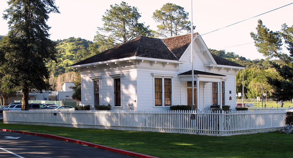The Old Dixie Schoolhouse was built in 1864 during the Civil War. It is now located on the campus of Miller Creek Middle School in San Rafael, CA.