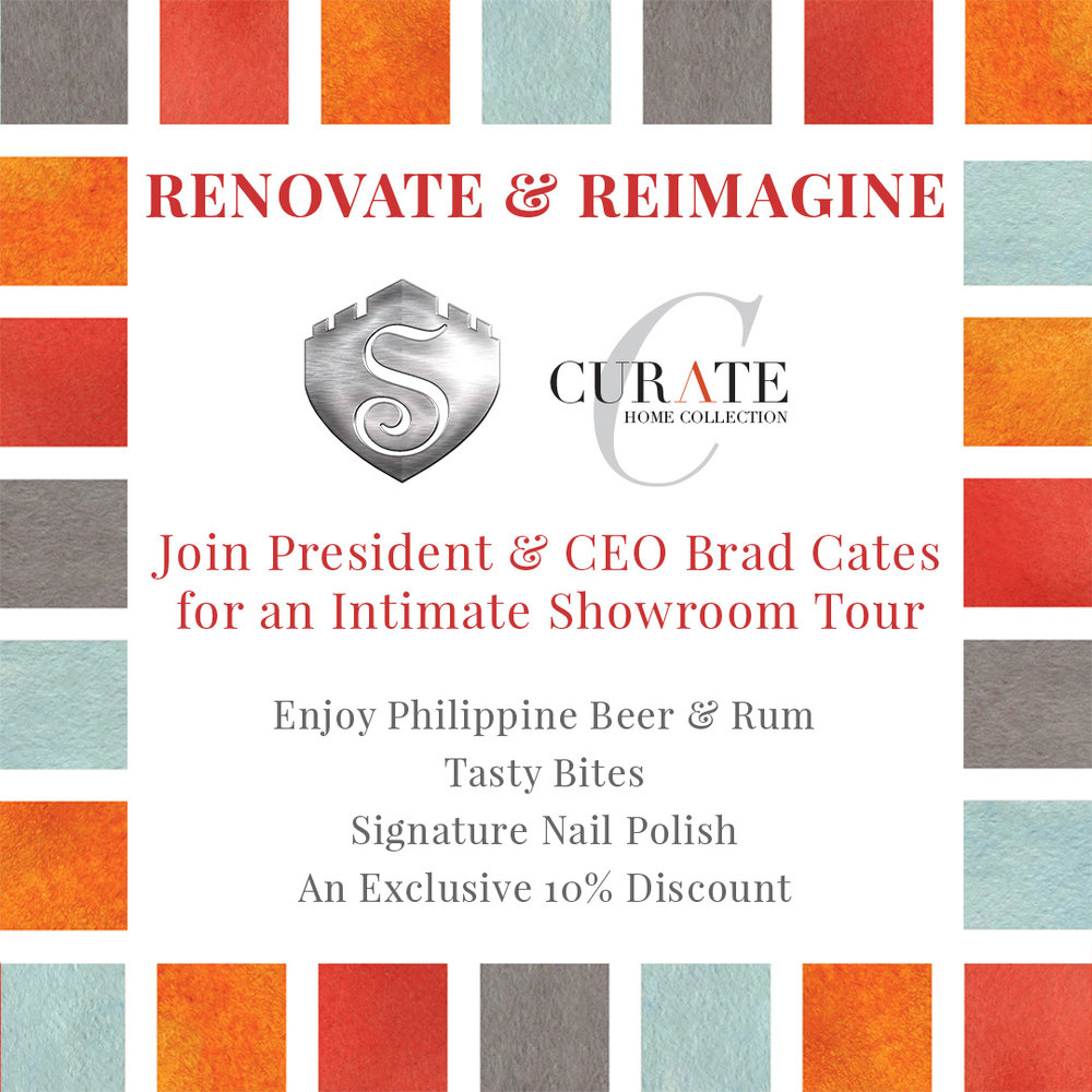"""RENOVATE & REIMAGINE     Time: Sunday 4 - 6PM Location: 242 N. Hamilton St.   """"Rum & beer confirmed on container. Let's kick this into high gear!"""" Yup, that's Brad Cates in a nutshell…but there's a lot more than exotic beverages in that container.  New items and expanded collections  are headed to Curate Home's  newly-renovated showroom  at their High Point debut - you don't want to miss it!  Join us as Brad leads us on a lively tour, and keep an eye out for two very special extras exclusive to Steelyard Insiders: a Curate Home edition of our market-renowned  Steelyard nail polish , AND a on site surprise!"""