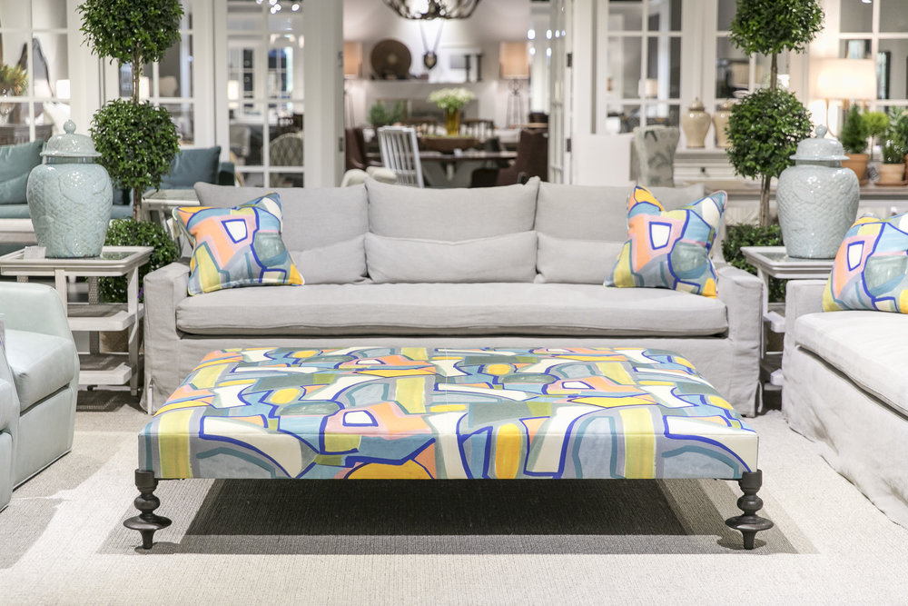 Century Showroom Vignette featuring the Boheme Ottoman and Shae Large Sofa