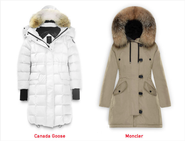 A side-by-side fit comparison. There are puffier models of Moncler as well, but in our opinion they look overstuffed and a bit exaggerated.