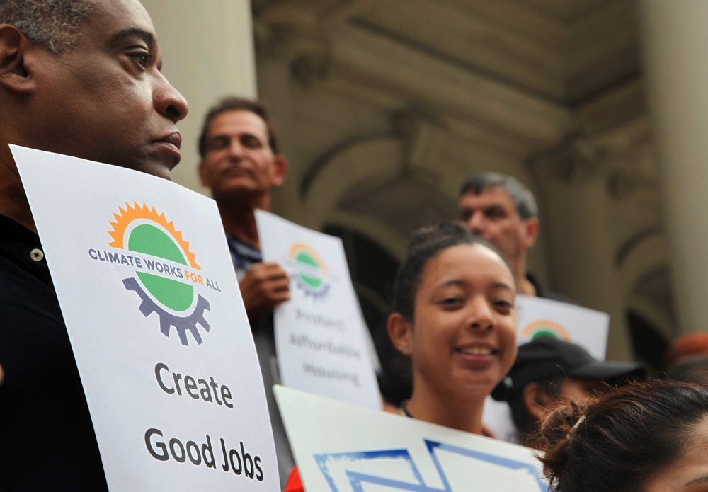 - Climate Works for All is comprised of environmental justice advocates, community organizations, and Labor unions with the goal of addressing climate change and income inequality. Formed in 2014 the coalition focuses on promoting policies to tackle both reductions in carbon emissions, as well as resiliency. Investments in resiliency upgrades can serve as a catalyst for job creation, including pathways to apprenticeship, and local hire opportunities. In particular, the coalition is focused on mandatory large-building retrofits and devising a comprehensive strategy to install renewable energy systems on New York City public buildings.