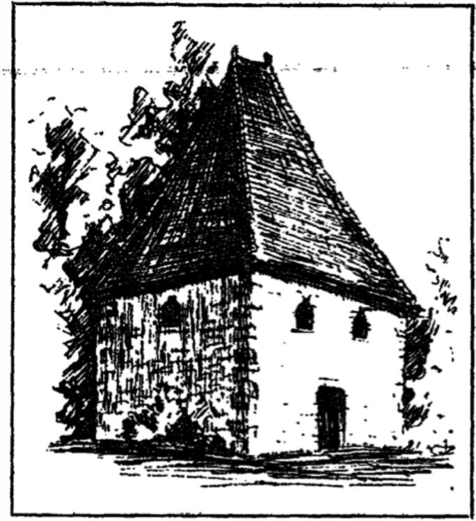Illustration du XIXème siècle du temple protestant de Courtomer