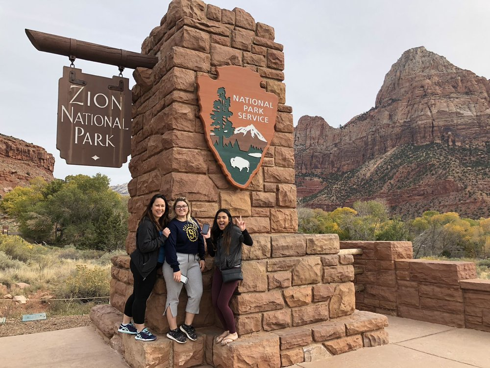 The team that travels together, stays together! zion national park