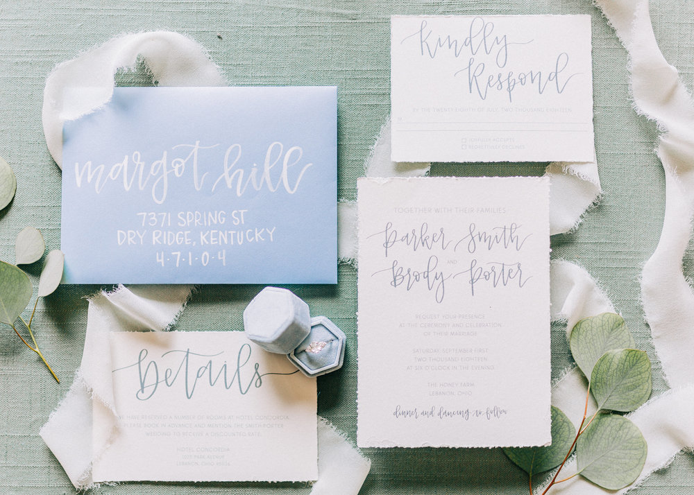 Blue and White Wedding Invitations - Columbus Wedding Planner - Dayton Wedding Coordinator