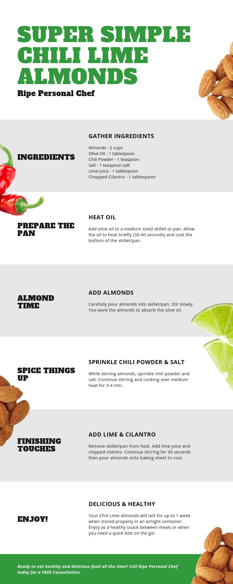 Simple chili lime almond recipe.