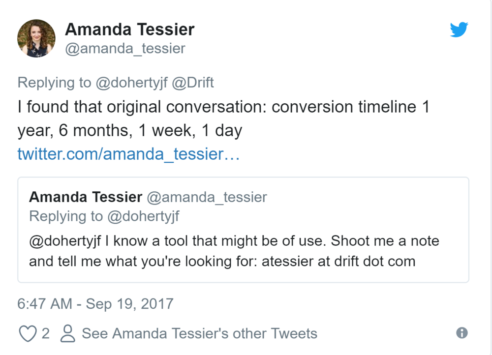 The Social Selling Sales Cycle - When a prominent entrepreneur in the SEO space was looking for a chat bot and asked the Twitterverse what solutions to consider, I jumped into the conversation. At the time, Drift wasn't the right fit. 18 months later, I have the tweet to prove that social selling works in the long run.