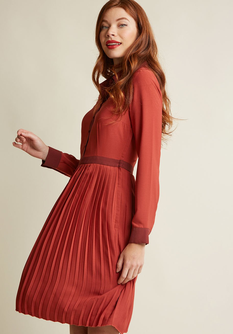 Just My Typist Long Sleeve Shirt Dress in Brick Red, dress by ModCloth.com