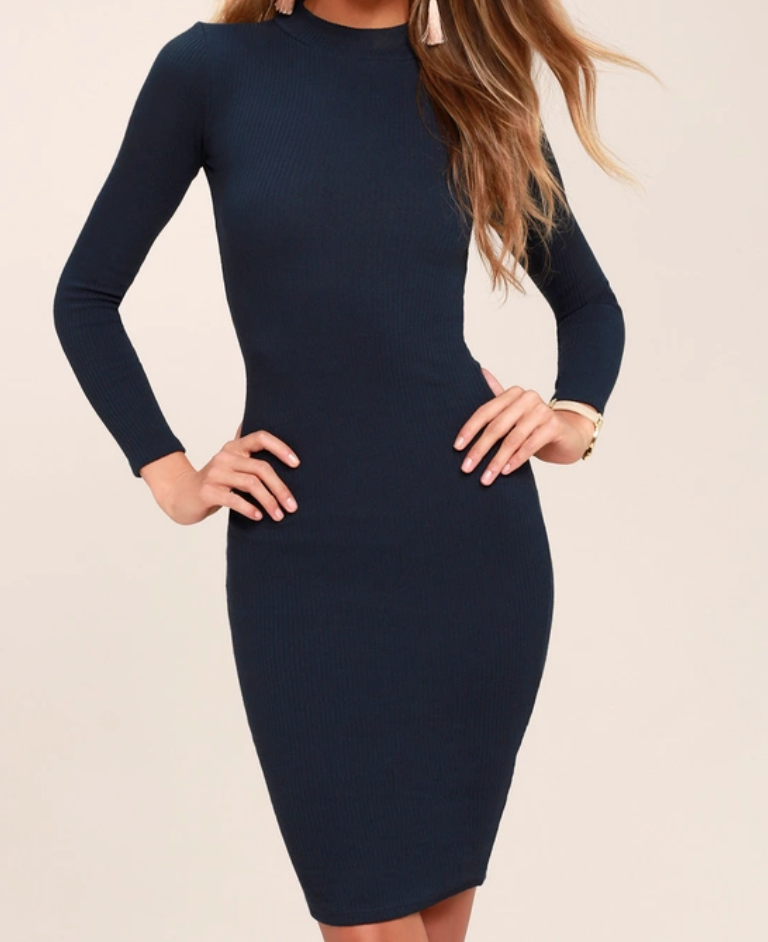 I MIST YOU, NAVY BLUE LONG SLEEVE BODYCON MIDI DRESS by  LULUS  -  $62