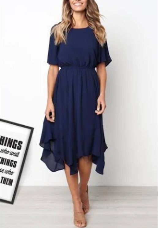 Venidress Daily Round Neck Flared Sleeves Mid Calf Dress Deep Blue  by Venidress