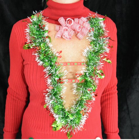 Sexy Ugly Christmas Sweater, with garland, women, party, jumper, xmas sweater, Super low cut, novelty | $48.99