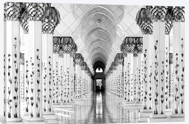 iCanvas - Canvas - Colonnade in B&W, Sheik Zayed Grand Mosque, Abu Dhabi, U.A.E. Colonnade in B&W, Sheik Zayed Grand Mosque, Abu Dhabi, U.A.E. byHans-Wolfgang Hawerkampframed art print arrives ready to hang, with hanging accessories included and no additional framing required. Every canvas print is hand-crafted in the USA, made on-demand at iCanvas and expertly stretched around 100% North American Pine wood stretcher bars. We only use industry leading archival UltraChrome® Giclée inks to achieve the most vivid and high-definition prints possible.