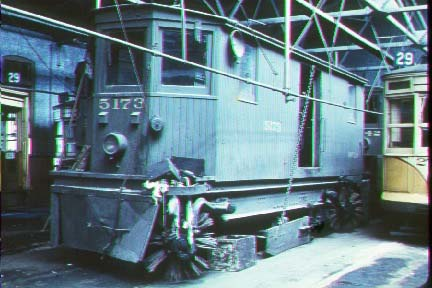 Public Service Sweeper 5173 as seen in much better shape. This photo is believed to be in the Montclair Car Barn, now demolished. We are still attempting to clarify the photographer and date.