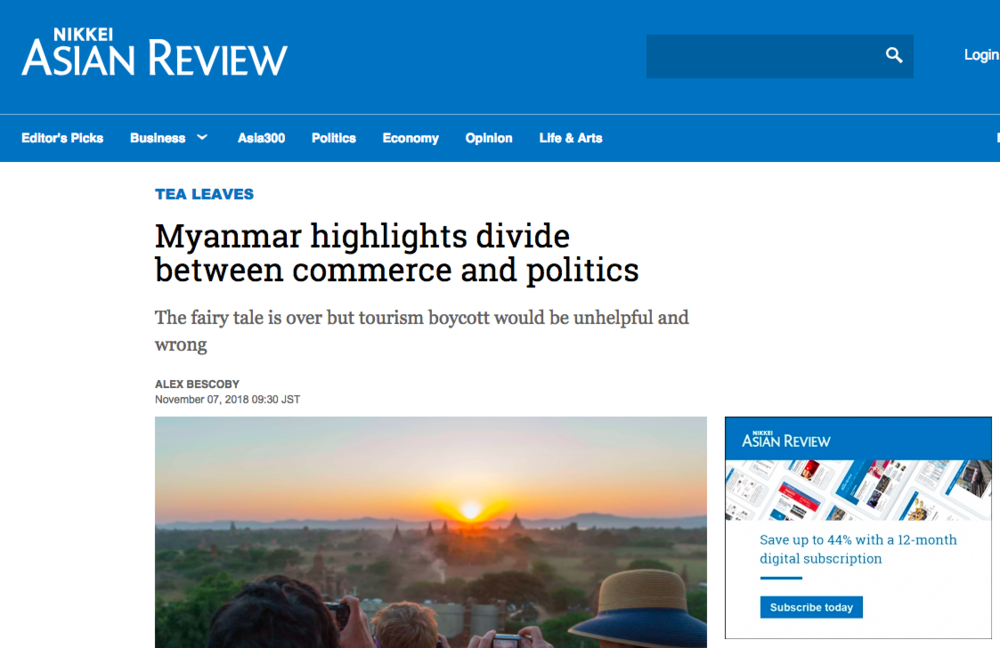 Myanmar highlights divide between commerce and politics