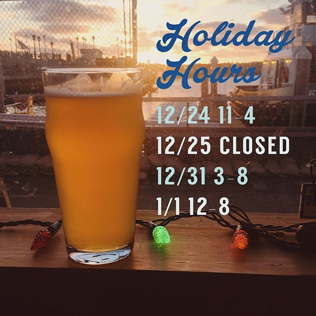 Happy Holidays from King Harbor Brewing! 🎄☃️ The Christmas 🎅 and New Year 🎆holidays are right around the corner and we have special hours for those days:  December 24th (Christmas Eve)** 11am-4pm ____________________ December 25th (Christmas Day) CLOSED ____________________ December 31st (New Year's Eve)** 3pm-8pm ____________________ January 1st (New Year's Day) Noon-8pm ____________________ **Please note that we will NOT have All Day Happy Hour on Christmas/New Year's Eve. . . . #kingharborbrewing #kingharborbrew #kingharborvillage #kingharborwaterfront #craftbeer #redondobeach #hermosabeach #manhattanbeach #torrance #drinklocal #southbay #christmas #drinkandbemerry #cheers #jolly #holidays #santa #santaclaus #presents #festivities #candycanes #celebrate #ohchristmastree #garland