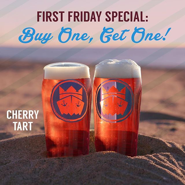 Join us this Friday for First Fridays in the @rivieravillage from 5-8pm! 🎸🌴 February First Friday Drink Special: Buy One Get One (BOGO) on our Cherry Tart Gose 🍒 (5oz & 16oz) . . . #kingharborhaps #kingharborbrewing #kingharborbrew #kingharborvillage #kingharborwaterfront #craftbeer #redondobeach #hermosabeach #manhattanbeach #torrance #drinklocal #southbay #cheers #firstfriday #firstfridays #friday #friyay #february #rivieravillage #beerislove #cheers #2019  #cherrytart #gose #buyonegetone #bogo #beerspecials