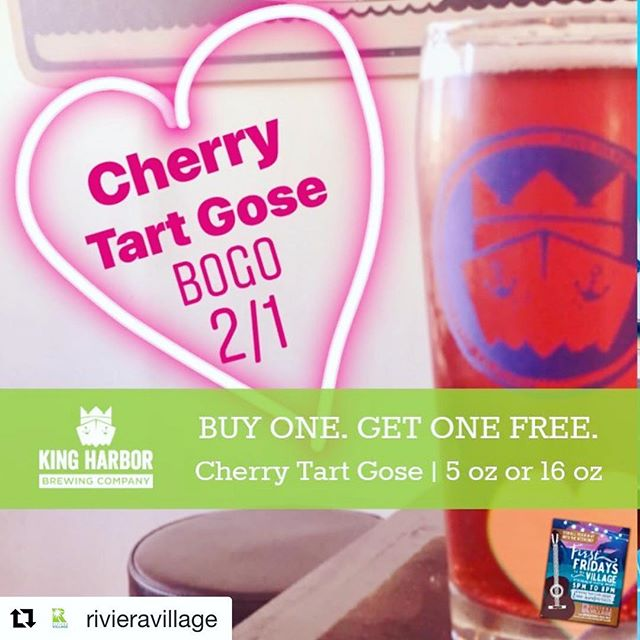 #Repost @rivieravillage with @get_repost ・・・ Beer means love. ❤️ That's why the romantic folks at @kingharborvillage have put a Valentine's spin on tonight's First Fridays' taproom special...... BUY ONE Cherry Tart Gose.  GET ONE Cherry Tart Gose FREE. 💋  See you there! . . . #kingharborhaps #kingharborbrewing #kingharborbrew #kingharborvillage #kingharborwaterfront #craftbeer #redondobeach #hermosabeach #manhattanbeach #torrance #drinklocal #southbay #cheers #firstfriday #firstfridays #friday #friyay #february #rivieravillage #beerislove #cheers #2019 #cherrytart #gose #buyonegetone #bogo #beerspecials