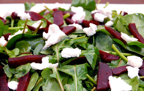 Leafy Greens, Roasted Beets, Goat Cheese