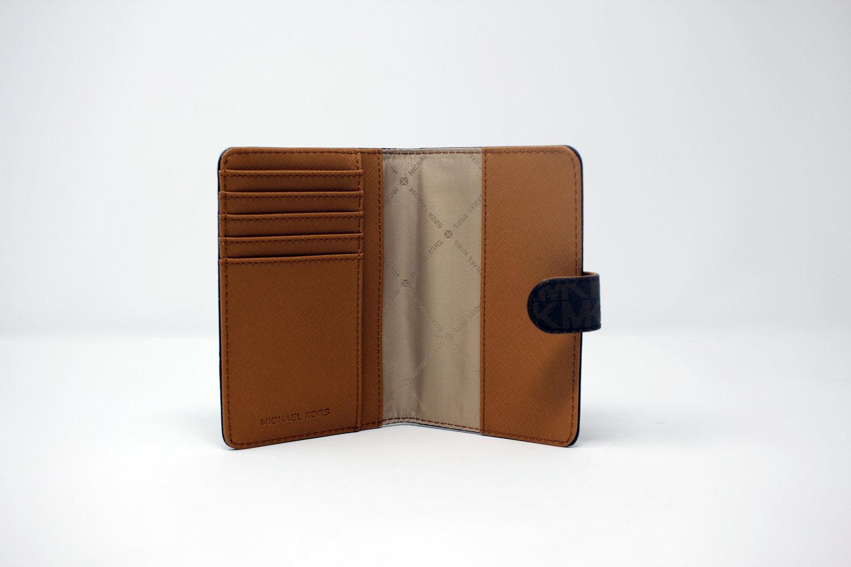 60007ab02efc Michael Michael Kors Brown Pvc Jet Set Travel Leather Passport Case Wallet