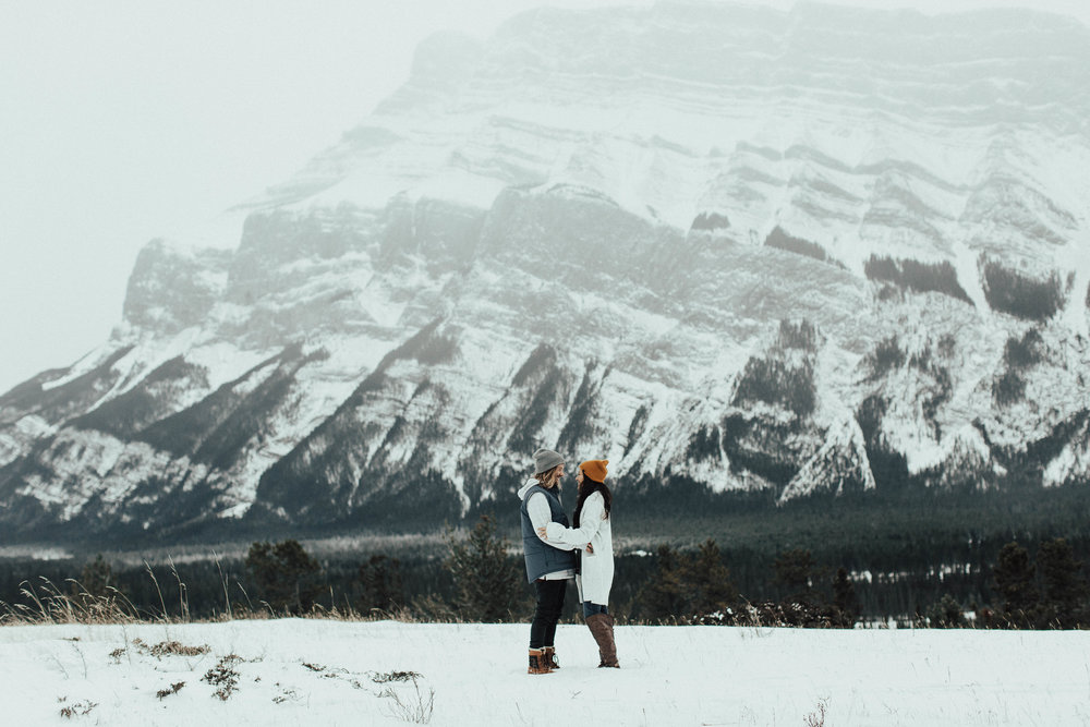 Banff Engagement Photographer - Winter Mountain Adventure Engagement Session - Michelle Larmand Photography-002