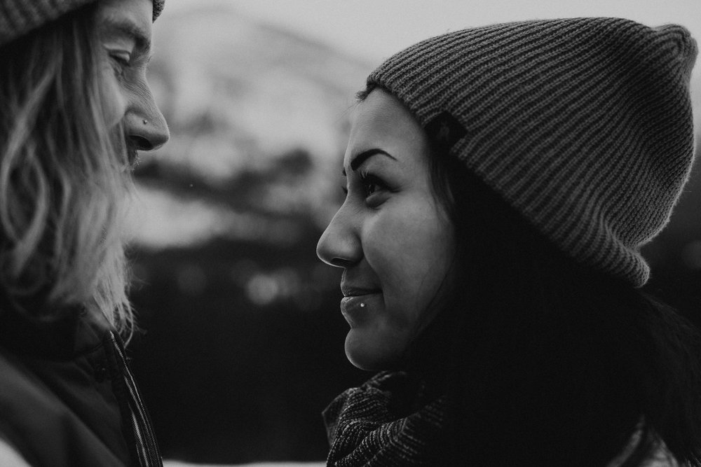 Banff Engagement Photographer - Winter Mountain Adventure Engagement Session - Michelle Larmand Photography-005
