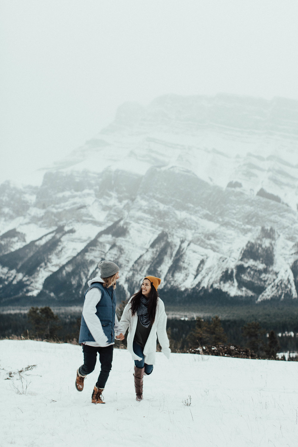 Banff Engagement Photographer - Winter Mountain Adventure Engagement Session - Michelle Larmand Photography-011