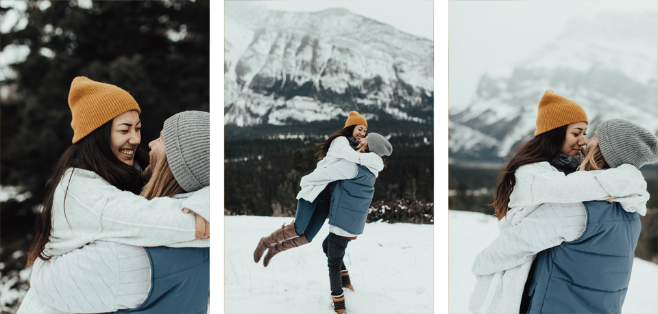 Banff Engagement Photographer - Winter Mountain Adventure Engagement Session - Michelle Larmand Photography-012