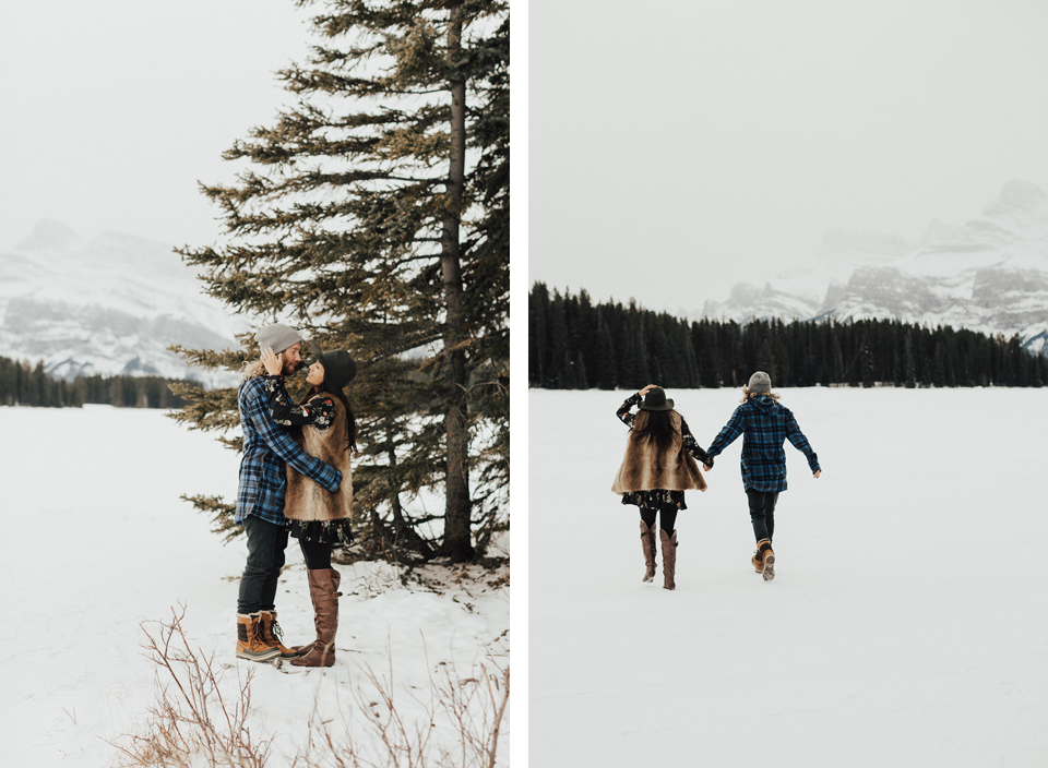 Banff Engagement Photographer - Winter Mountain Adventure Engagement Session - Michelle Larmand Photography-028