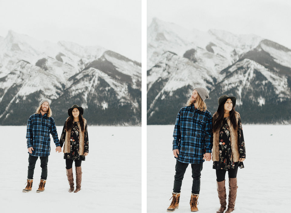 Banff Engagement Photographer - Winter Mountain Adventure Engagement Session - Michelle Larmand Photography-035