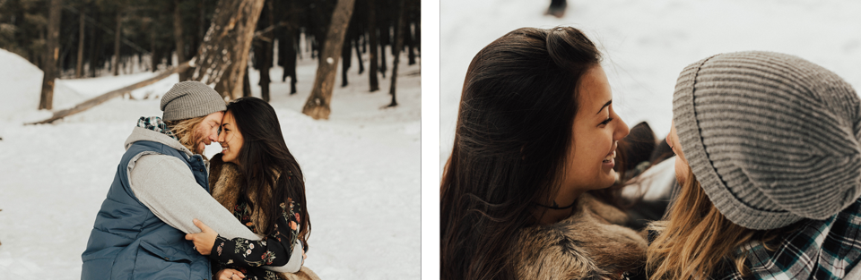 Banff Engagement Photographer - Winter Mountain Adventure Engagement Session - Michelle Larmand Photography-057