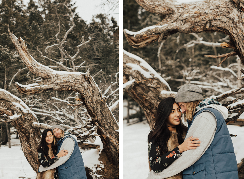 Banff Engagement Photographer - Winter Mountain Adventure Engagement Session - Michelle Larmand Photography-075