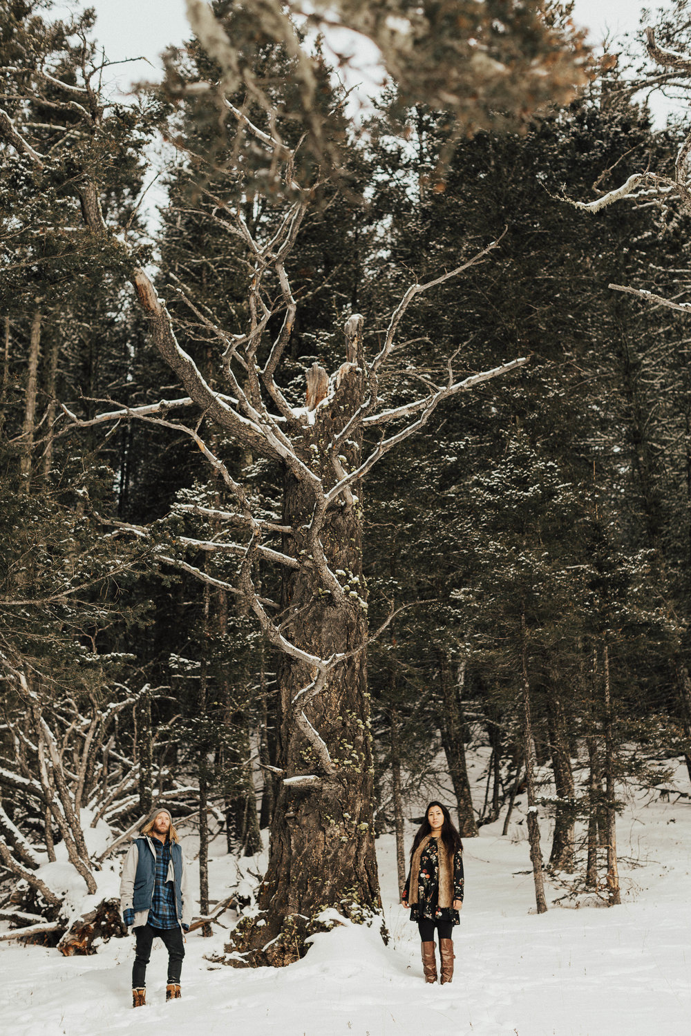 Banff Engagement Photographer - Winter Mountain Adventure Engagement Session - Michelle Larmand Photography-078